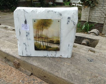 Oil painting on wooden block original wood block white shabby Shabbychic hand painted reproduction vintage decorative