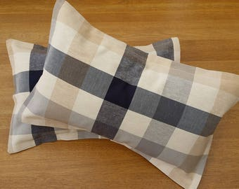 A Pair ofLaura Ashley Check Oblong Cushion Covers