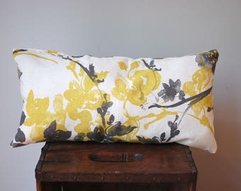 Mini lumbar accent pillow, nursery pillow, kids pillow, pet pillow yellow watercolor floral