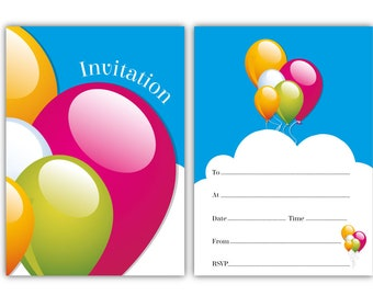 Party Invitations - Blue Balloon Design - 24 x A6 postcard size cards - suitable for any celebration! (With envelopes)