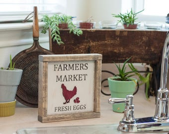 Farmers Market Sign/Fresh Eggs/Chicken/Rustic