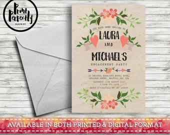 Bohemian Vintage Floral Paper - Luxury Customised Engagement Party Invitations (Printed & Digital)