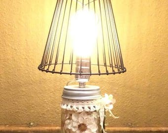 Lamp Made With Thomas Edison Bulb and Shade And A Mason Jar.