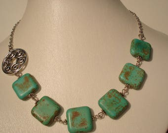 Turquoise (Howlite) & Silver Beaded Necklace Handcrafted