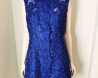60s Deep Blue Floral Lace Mini Dress Size Large