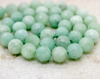 Burma Faceted Round Jade Natural Gemstone Beads