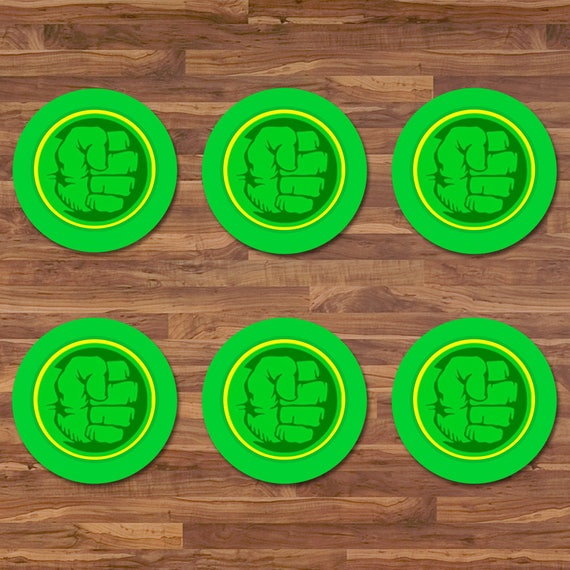 Hulk Cupcake Toppers - Hulk Stickers - Green & Yellow Logo - Hulk Birthday - Hulk 2 inch Round Stickers - Superhero Avengers Party