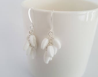 Vintage white glass beads, wire wrapped, silver plated earrings.