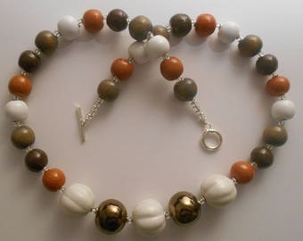 Brown and off white multicoloured Kazuri ceramic bead 20.5 inch necklace