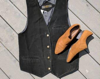 Vintage Black Leather Suede Vest || 70's Black Button-Up Leather Vest