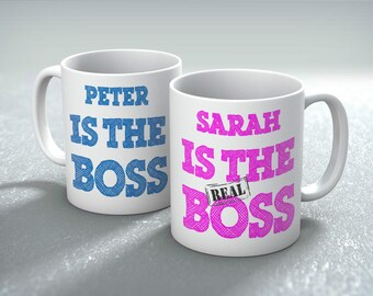 Personalised The REAL Boss Mug Gift Set Valentines Birthday Him and Her Wedding