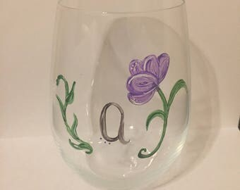 Personalized Floral Hand Painted Wine Glass