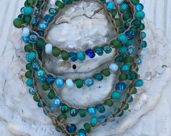 Beach Blue Glass Bead Crocheted Necklace