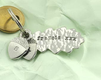 Personalised Oak Leaf and Acorn Keyring for Godparents, Godmother and Godfather and Special Friends