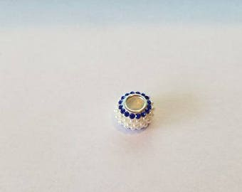 Sterling Silver Blue Rhinestone And White Pearls