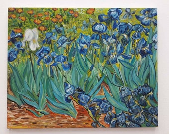 Impressionist painting irises Vincent Van Gogh copy hand paited oil on canvas reproduction iris painting blue green abstract picture