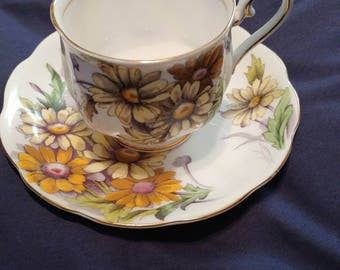 Vintage Royal Albert Flower of the Month Daisy tea and saucer set