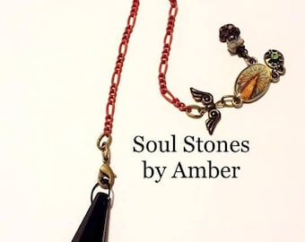 Black Glass Pendulum with Mother Charm