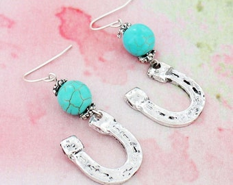 Horse shoe Earrings with turquoise bead