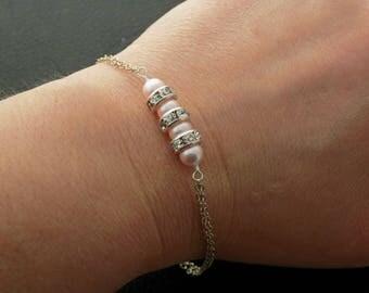Swarovski Pearl Rhinestone Bracelet Sterling Silver Bridal Jewelry Bridesmaids Bracelet Gift for bridesmaids Pink Pearl Bracelet ivory Pearl