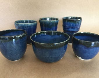 MatsPots Ceramics, Set of 6 Porcelain tea cups / coffee mugs without handles