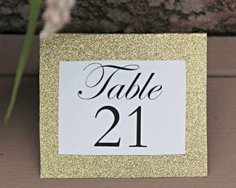 Calligraphy and Gold Glitter Tent Style Table Numbers (sets available, same style can be used for placecards)
