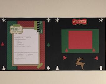 Christmas Dear Santa 12 x 12 Premade Scrapbook Double Page Layout X01