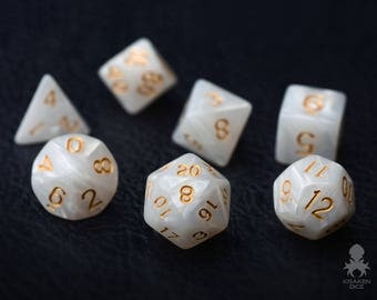 White Marble Dice Set for Dungeons & Dragons | RPG Games Polyhedral Dice Set | DND Dice White Pearl (KD0004)