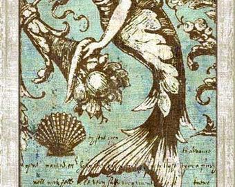 Vintage Coastal Mermaid Wood Sign