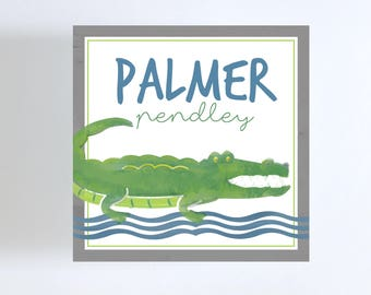 Watercolor Alligator Gift Tag or Calling Card