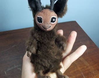Jackalope Spirit OOAK Doll Art Toy Creature Plush