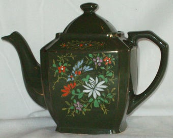 Vintage Ceramic Teapot Green Hand Painted Made in Japan