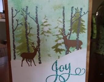 Winter Wonderland, Deers and Trees Christmas card