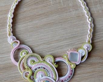 Swarovski soutache statement necklace , OOAK soutache necklace , Crystal handmade yewelry , Light pink soutache necklace , Bib necklace