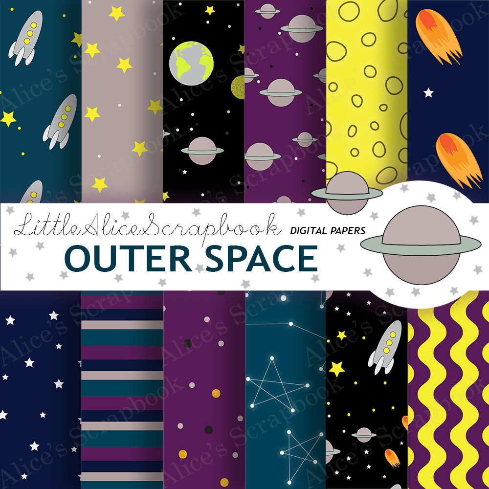Outer space digital papers moon stars rocket galaxy for Outer space studios
