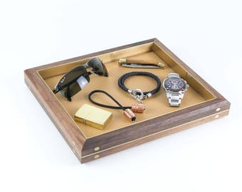 Solid Black Walnut, Brass and Leather Valet Tray / Catchall - FREE SHIPPING