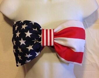 Order now! USA Flag Bow Bandeau-Fourth of July Bandeau-Patriotic Bow Bandeau-Bow Bra-BowTop-Rave Bra-Music Festival Bra-Coachella