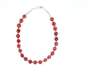 Antique Venetian red skunk whiteheart bead necklace