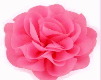 2 Hot Pink Rose Flower Baby Girl Hair Clips 1 Pair