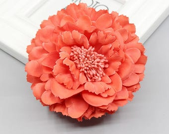 2 Coral Peony Big Flower Hair Clips Brooches 10cm