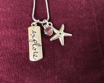 Explore, pink, starfish silver necklace