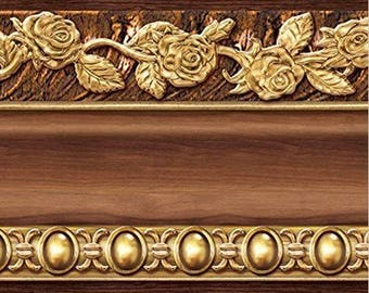 Flower Molding Peel and Stick Wall Border Easy to Apply (Brown)20921