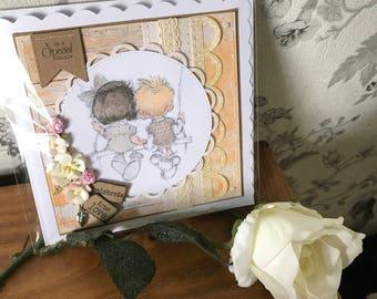 Handmade hand-stitched wedding card