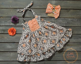 Orange Striped and Floral Halter Top Sundress Set 2T