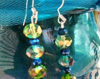 Girl's matching set of crystal beaded earrings and bracelet