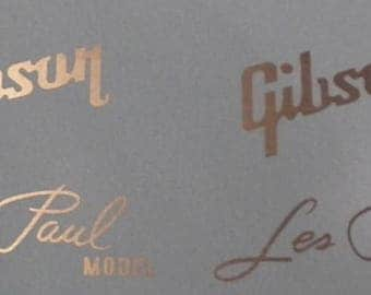 Gibson Les Paul Logo Decals Two of Each! Waterslides - All Colors!