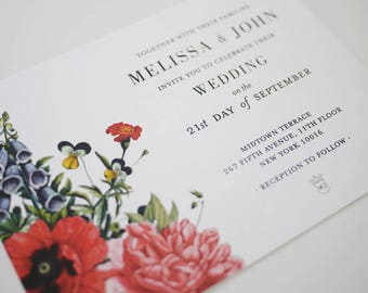Vintage Botanical Printable Wedding Invitations