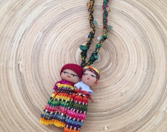 Worry Doll Anxiety Necklace with rainbow string