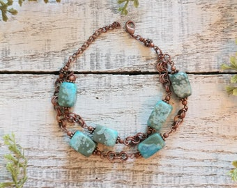 Blue Green Copper Bracelet