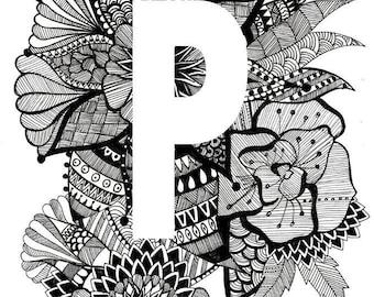 Personalised Letter Print- P-T- Downloadable, Printable Art
